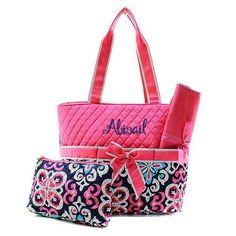 Personalized Hip Moroccan Quilted 3pc Diaper Bag - Pink & Navy