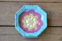 Shadow Box Frame with Crochet Granny Square Turquoise Upcycle Recycle Shabby Chic on Etsy, $10.00