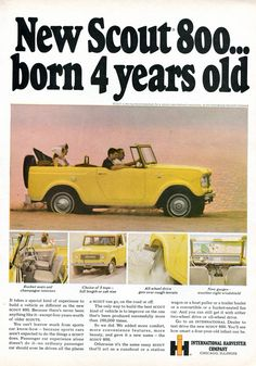 1965 International Harvester Scout 800 Advertisement Sports Afield September 1965 (by SenseiAlan) Advertising Ads, Vintage Advertisements, Vintage Ads, International Scout, International Harvester, Pick Up, Jeep Scout, Scout 800, Farmall Tractors