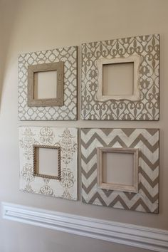"Accessories can truly make a home feel more like ""a home."" The other day I was looking for DIY wall decor ideas when I came across a set of four 8x8 wooden frames on Etsy. They were BEAUTIFUL! Dist..."