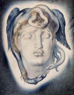 Simeon Solomon  1840 - 1905 Work:  The head of the Medusa Year:  1884 Size:  40 x 31,5 cm
