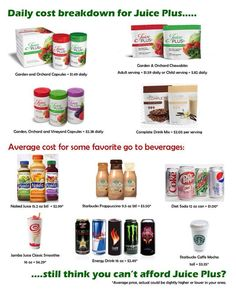 Who doesn't want an easy way to get all your fruits and veggies in each day? Juice plus allows that along with all the great health benefits like contributing to your cardiovascular system, boost your immune system, repair and maintain your DNA and reduce systemic inflammation. Visit me @ tracyirwin.juiceplus.com