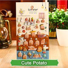 SST* 1 Sheet ' Cute Potato ' Cartoon Stickers Kids Toys 3D Kawaii Diary Decoration Scrapbooking kindergarten gift Stationery +