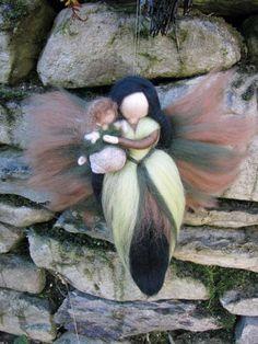 XYLIA Needle Felted Wool fairy with babynature by LivelySheep