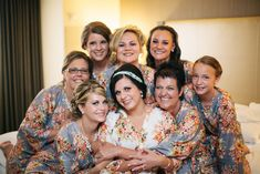 Gray Wedding Theme Ideas - Real life Sample of Floral bridesmaids robes made with fabric pattern C13. This is a unique bridesmaids gift idea - Perfect photo prop for the getting ready time on your big day as well as a practical gift which can be used by the bridesmaids long time after the wedding. Robes like these can also be used as spa robes, lounge wear, they are also commonly referred to as kimono crossover robe. These robes are also ideal for bridal shower, wedding favors, bridal party.