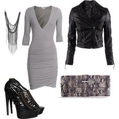 Feminine Edge--grey fitted stretch dress, black moto jacket, multi-strap McQueen sandals.
