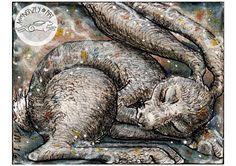 Magic Dreams Sleeping Hare. Watercolour and Ink Illustration.