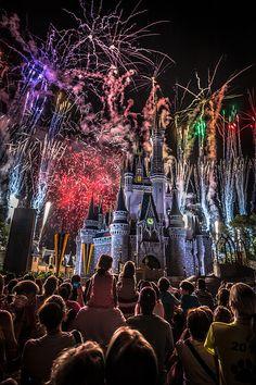Fireworks shooting over Cinderella's Castle at Disney's Magic Kingdom
