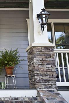 New House Exterior Colors Grey Brick Columns Ideas Exterior Paint Colors, Exterior House Colors, Exterior Design, Diy Exterior, Wall Exterior, Stone On House Exterior, Stone Veneer Exterior, Exterior Decoration, Exterior Signage