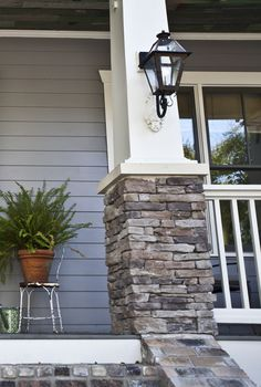 Home Exterior Details--columns I like. This is what I want to do with our 1 column