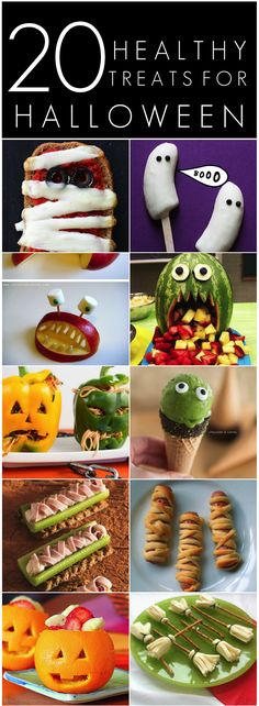 Here are 20 Healthy Halloween Treats for kids! Lots of spooky, fun and healthy treats which are great alternatives to sweets! Click through to take a look at some ideas for your Halloween party or school lunches!