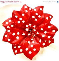 On Sale Polka Dot Flower Power Brooch Huge by TheJewelryLadysStore, $16.40