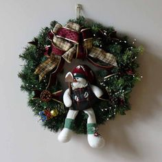 Snowman Holiday Christmas Winter Door Wreath by SnowmanCollector