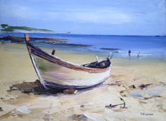 Beached Boat in Famouth 12 x 9 inch Landscape by TomGowenart, Outdoor Furniture, Outdoor Decor, Boat, Landscape, Inspiration, Vintage, Watercolor Painting, Art, Biblical Inspiration