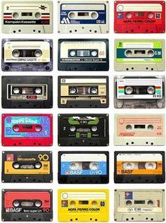 The analog audio tape cassette Die Siebziger, Retro Lounge, Little Bit, Glitter Graphics, My Memory, Back In The Day, Mixtape, Childhood Memories, Retro Vintage