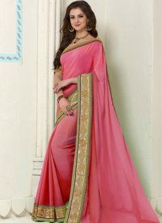 Shaded Pink Embroidery Work Georgette Banarasi Silk Party Wear Designer Sarees http://www.angelnx.com/Sarees/Party-Wear-Sarees