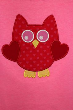 Valentine Owl Applique by Oohlawee on Etsy, $16.00