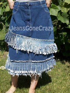 Funky Double Fringe upcycled Jean Skirt by JeansGoneCrazy on Etsy, $58.00