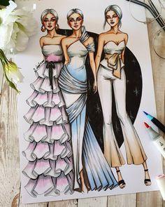 "Sveta Leyfman fashion artist on Instagram: ""1, 2 or 3? (from left) 💕💜 ............................................................................ Design by…"" Fashion Design Drawings, Fashion Sketches, Fashion Illustration Dresses, Fashion Illustrations, Dress Design Drawing, Fashion Vocabulary, Fashion Sketchbook, Pencil Art Drawings, Designs To Draw"