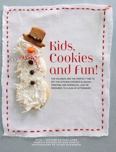 Coconut covered snowman cookies from Sweet Paul Magazine. Christmas Cookie Exchange, Christmas Sweets, Christmas Cooking, Christmas Fun, Christmas Recipes, Christmas Foods, Christmas Countdown, Snowman Cookies, Cute Cookies