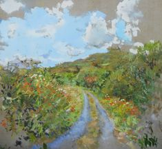 Landscape painting of a country lane in Ireland. Oil on canvas painted en plein air. Irish Landscape, Contemporary Landscape, Beautiful Landscape Paintings, Garden Painting, Oil On Canvas, Ireland, Scenery, Country, Artist