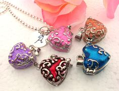 Personalized Heart Necklace, Choice of Pink, Blue, Red, Purple, Coral. $21.00, via Etsy.