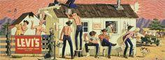 Vintage Levi's Poster Vintage Soul, Vintage Tags, Vintage Prints, Vintage Posters, Western Theme, Western Wear, Cowboy Art, Rockabilly Fashion, Rockabilly Style