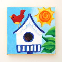 bird house on canvas - Google Search