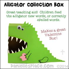 Alligator Crocodile Craft - Use as a teaching aid or as a Valentine's Day Box from www.daniellesplace.com
