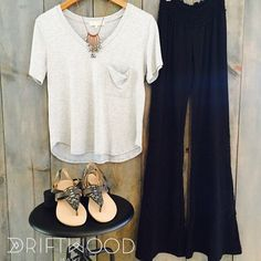 Hump-day perfection. @cadoraclothing lace paneled pants, @joahbrown pocket Tee, @koolaburra leather ankle strap sandal, @ellamaymaui leather and pearl cascade necklace. For up-close details check out our facebook page.  Driftwood Maui - A Lifestyle Boutique In Makawao, HI