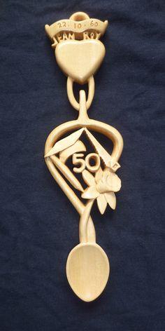 50th anniversary love spoon for a teacher and a carpenter.