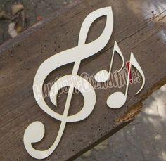 Tischdeko für Musiker - diese drei kreativen Zuschnitte in Form von Notenschlüssel und Noten gibt es jeweils EINZELN zum angegebenen Preis zu kaufen. Sie lassen sich individuell...