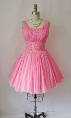1950's Beaded Pink Chiffon Cocktail Party Mini Prom