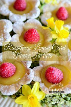 """Raspberry Lemon Curd Flower Tartlets """"http://www.stonegableblog.com/raspberry-lemon-curd-flower-tartlets/"""""""