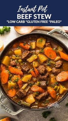 This Classic Homemade Beef Stew is easy to make in one pot & perfect for a chilly day. Tender beef, carrots, potatoes and celery make the best comforting dish on a cold & rainy day. Includes recipe, step-by-step photos & instructions for stove-top, Instan Whole30 Beef Recipes, Healthy Beef Recipes, Stew Meat Recipes, Healthy Soup, Keto Recipes, Stewing Beef Recipes, Easy Stew Recipes, Paleo Food, Ketogenic Recipes
