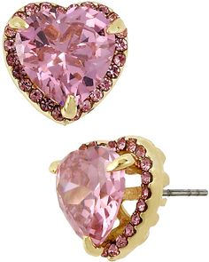 PINK GOLD CRYSTAL PAVE HEART STUD PINK accessories jewelry earrings fashion