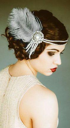Flapper Headpiece, Vintage Inspired, Bridal Headband