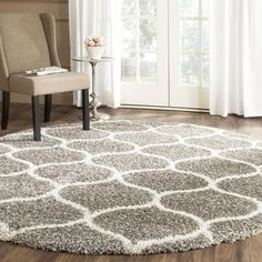 Safavieh Hudson Shag Collection Grey And Ivory Round Area Rug, 7 Feet In  Diameter Diameter) This Rug Exudes Modernity With An Ogee Motif
