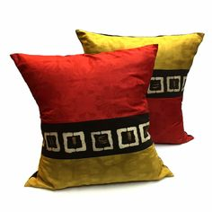 Hand made through fair trade practices, these decorative African Pillows- Mudcloth conbine the mudcloth with a vibrant red and taupe.