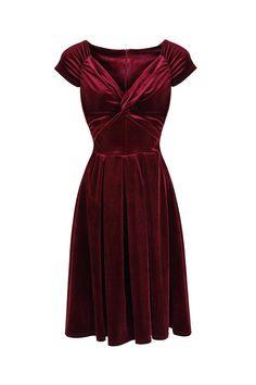 3e6bfcae41ec0 Claret Red Velour Crossover Midi Dress Vintage Red Dress, Vintage Inspired  Dresses, Vintage Style