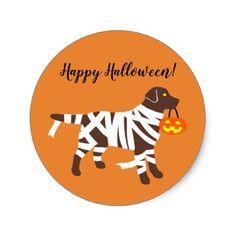 Halloween Chocolate Labrador Mummy Stickers - Halloween happyhalloween festival party holiday