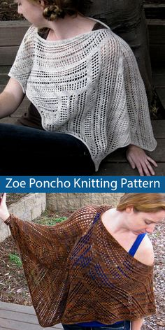Zoe Lace Poncho Knitting pattern by Kimberly Golynskiy Poncho Knitting Patterns, Knitted Poncho, Knitted Shawls, Knitting Stitches, Scarf Patterns, Knitting Ideas, I Cord, Brand Name Clothing, Yarn Sizes
