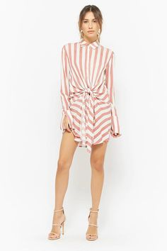 Striped Tie-Front Shirt Dress | Forever21