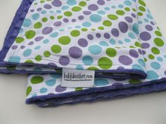 Minky Baby Blanket - Retro - Dot - Dots - Purple - Green - Teal Blue ...