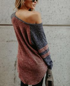 129ad33abe8 Color Patchwork Loose One Shoulder Sweater-3 Cold Weather Outfits