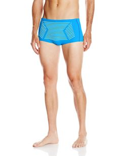 Blue Grid Disco Print Pattern Trunk Brief Speedo Swimwear 9L5F0SQG