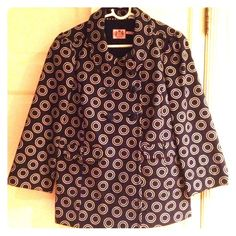 Juicy Couture Swing Jacket Coat Juicy Couture swing jacket. Navy blue with circles all over. Size medium. Juicy Couture Jackets & Coats