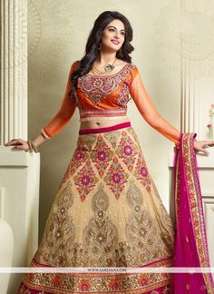 Outstanding craftmanship of embellishments exhibited in this beige georgette a line lehenga choli. The embroidered, patch border, resham and zari work seems to be chic and aspiration for any get toget...