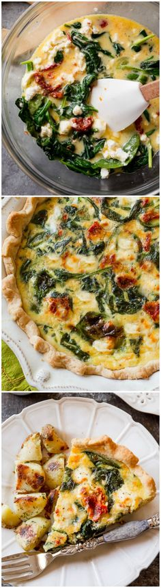 Make an EASY and delicious goat cheese and sun-dried tomato quiche for breakfast using simple flavor-packed ingredients! Recipe on sallysbakingaddiction.com