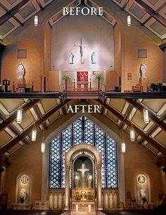 Conrad Schmitt Studios stained glass and decorative painting for St. Louis Catholic Church in Memphis, Tennessee. Old Catholic Church, Catholic Altar, Catholic Churches, Roman Catholic, Sacred Architecture, Church Architecture, Historical Architecture, Amazing Architecture, Architecture Design